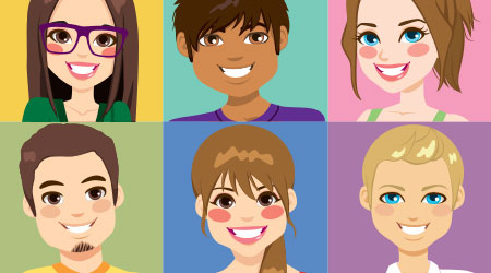 Nine diverse young people face avatars from different ethnicities