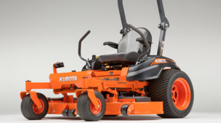 Orange commercial ride-on lawn mower with black detailing