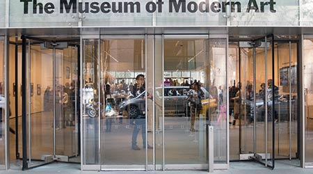 the main entrance of MoMA in midtown Manhattan