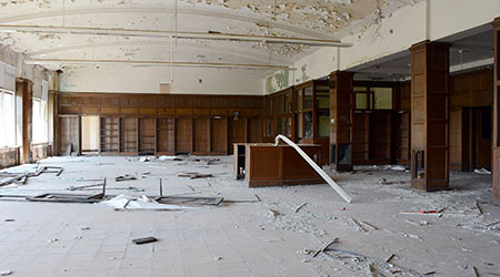Library In an abandoned Detroit school building