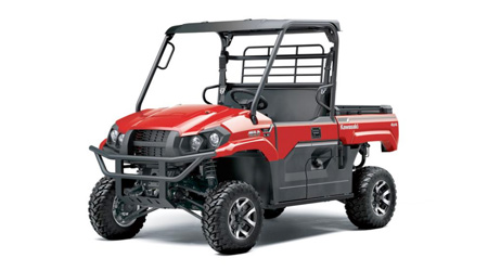 Red and black side-by-side Kawasaki utility vehicle