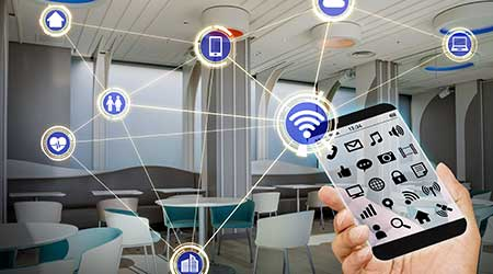 Transparent smart phone and wireless communication network illustration