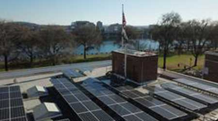 Rooftop solar panels on Portland's Fire Station 1.