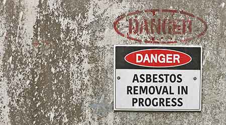 'Danger, Asbestos Removal in Progress' warning sign