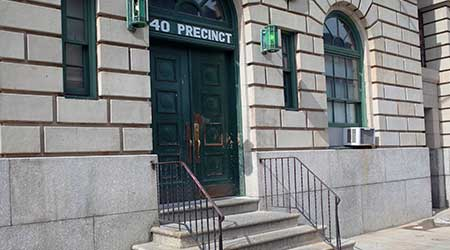 Non-accessible entrance to the 40th Precinct of the NYPD in Mott Haven, The Bronx.