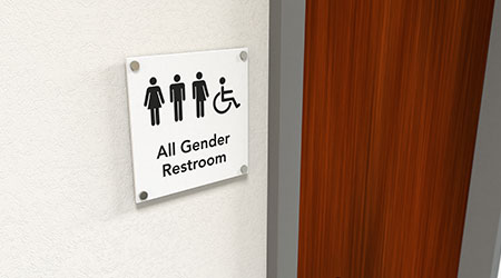 All-gender restroom signage next to a wooden restroom door.
