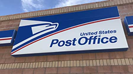 Exterior signage on the front of the U. S. Post Office building