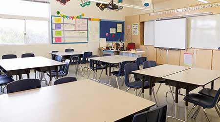 Empty school classroom.