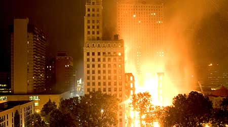 Building on fire, Memphis, Tennessee.