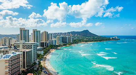 Waikiki Beach and Diamond Head Crater including the hotels and buildings