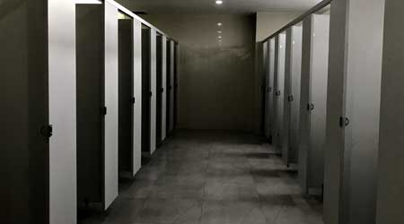 Toilet stalls in office building
