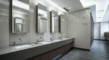 Contemporary interior of public restroom