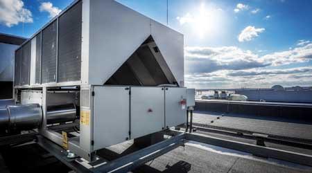 HVAC system on rooftop