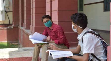 class wearing masks outside