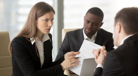 woman upset at contract
