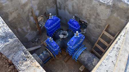 valve pit of the underground piping network