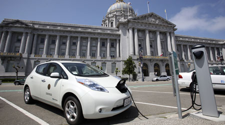 Electric vehicle charging outside of San Francisco city hall.