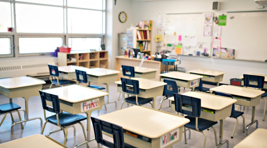 classroom with desks